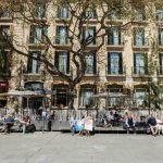 People enjoying the spring sun in Barcelona
