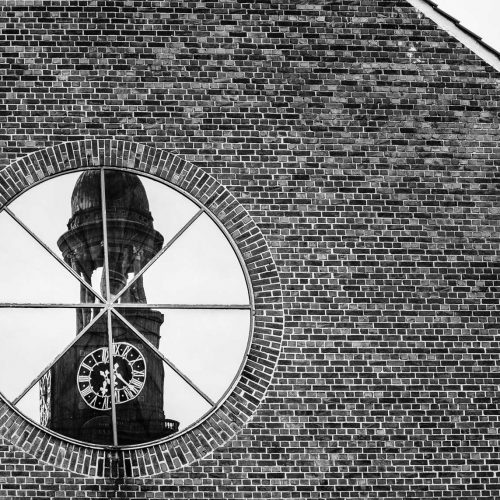 Reflection of the church the Michel in Hamburg in black and white