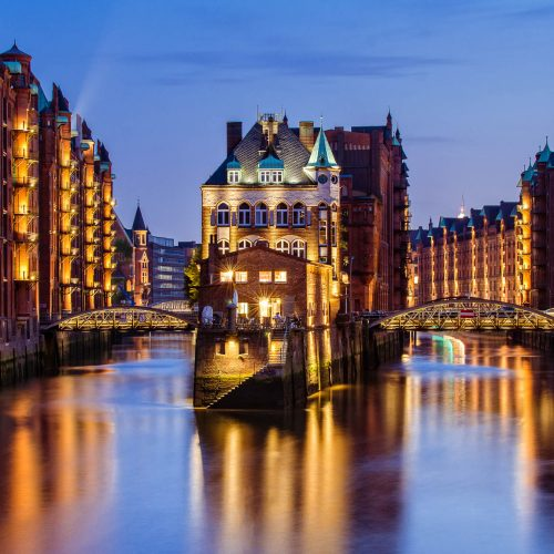 Fleetschlösschen in the Speicherstadt of Hamburg after sunset