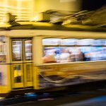 lisbon tram speed night